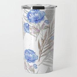 Blue flowers on a white background. Travel Mug