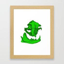 Cat Skull 6 (lime green) Framed Art Print