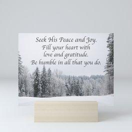 Seek His Peace: Snow Clearing In The Woods Mini Art Print