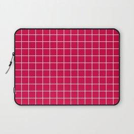 Carmine (M&P) - fuchsia color - White Lines Grid Pattern Laptop Sleeve