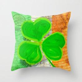 Classic Irish Shamrock - Vintage Collage Art Throw Pillow
