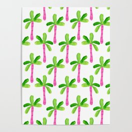 Watercolor Palm Trees in Pink Poster