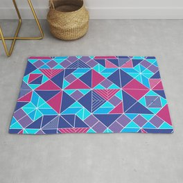 Tangram tiles in blue Rug