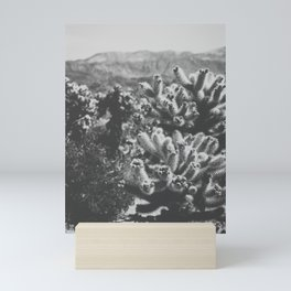 Chollo Cactus Garden (Black + White) Mini Art Print