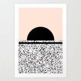 Terrazzo Stone Pattern Black and Orange Peach Art Print