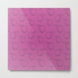 Cute and nice fruits pattern with plum Metal Print