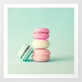 Tower of macarons, macaroons over green mint Art Print