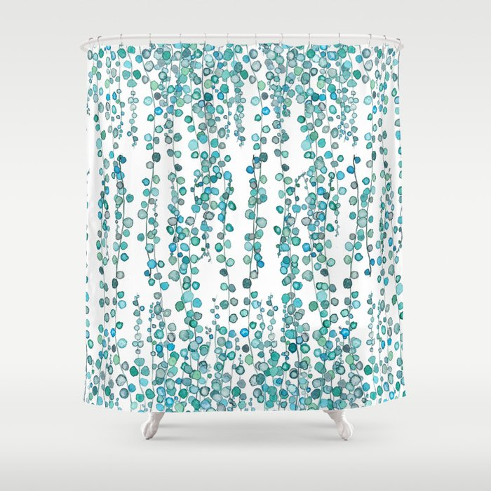 String Of Pearl Watercolor Shower Curtain
