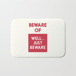 Beware of well just beware, safety hazard, gift ideas, dog, man cave, warning signal, vintage sign Bath Mat