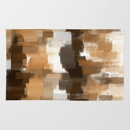 abstract pastel drawing in shades of brown Rug