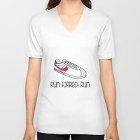 forrest gump V-neck T-shirts featuring Run Forrest Run by andresbruno