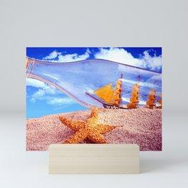 Beautiful Big Frigatte Boat In Glass Bottle Sea Creature In Sand UHD Mini Art Print