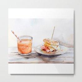 Original Watercolor Breakfast Ideas Metal Print