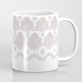 Off-White Damask Chenille with Lace Edge Coffee Mug