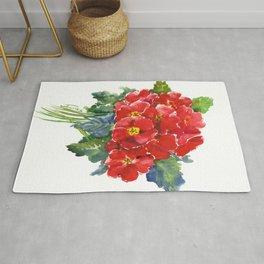Red Flowers, Primula, red floral design Rug