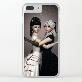 Beautiful Ladies and a difficult choice Clear iPhone Case