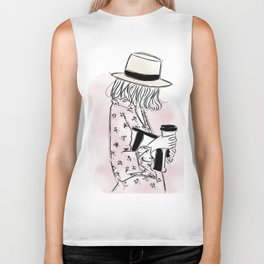 Casual young girl wearing hat and floral dress, clutch bag and a cup of coffee ready to hustle Biker Tank