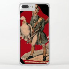 A hunter, with a gun under his arm, carrying a goose by the neck. Coloured lithograph. Clear iPhone Case