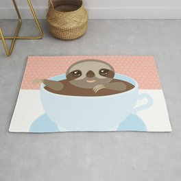 Sloth in a blue cup coffee, tea, Three-toed slot Rug