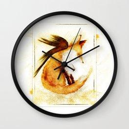 Winged Fox Sleeping Wall Clock