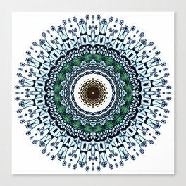 Ink and pen drawing Blue Mandala Canvas Print