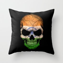 Dark Skull with Flag of India Throw Pillow