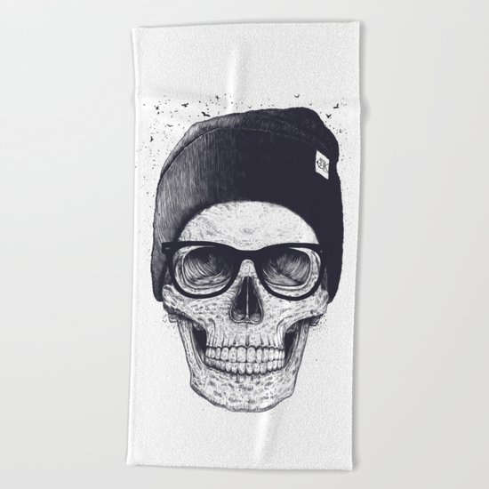 Grey Skull in a hat Beach Towel
