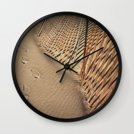 Footprints on the Beach by the Sand Fence Wall Clock