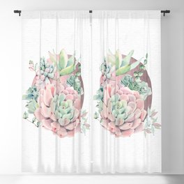 Pink Succulents - Rose Gold Sun by Nature Magick Blackout Curtain