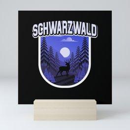 Schwarzwald Illustration Wald Bäume Hirsch Mini Art Print