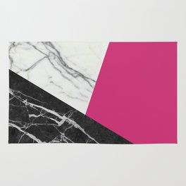 Black and white marble with pantone pink yarrow Rug