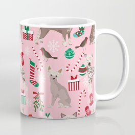Chinese Crested dog breed christmas dogs pattern stockings mittens presents Coffee Mug