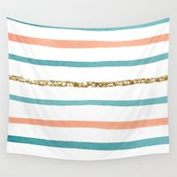 stripe Wall Tapestries featuring Sparkle Stripe by Social Proper