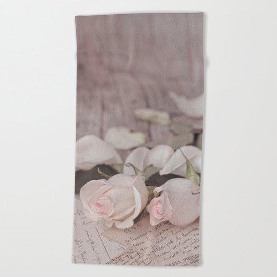 Pink Rose nostalgic Still Life Beach Towel