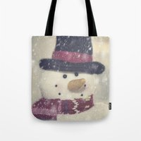 snowman Tote Bags featuring Snowman by Photography and Fine Art by Pamela