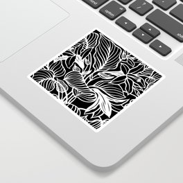 Black White Floral Minimalist Sticker