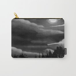 Bright Cloudy Night Sky in Black and White Carry-All Pouch