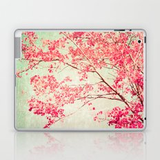 Autumn - Fall - foliage - Hot pink tree leaves in a textured blue sky Laptop & iPad Skin