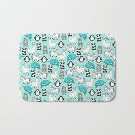 Narwhal,Unicorn, Panda, Llama, Penguin, Hippo, Animal Print For Girls Bath Mat