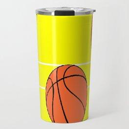 Basketballs on yellow Travel Mug