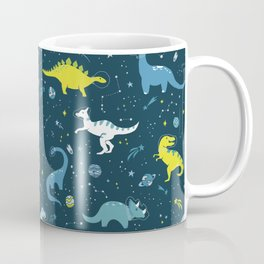 Space Dinosaurs in Bright Green and Blue Coffee Mug