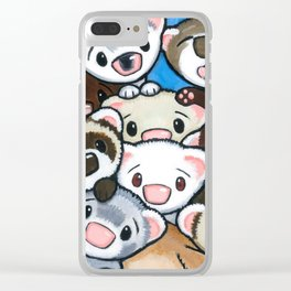 16 Ferrets Clear iPhone Case