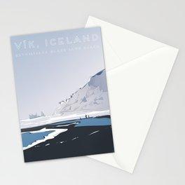 Vik Reynisfjara Black Sand Beach, Iceland Travel Poster Stationery Cards