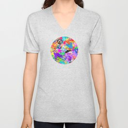Psychodelic Hipppie Abstract Painting Unisex V-Neck