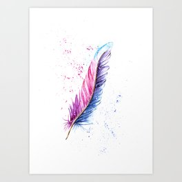 Feather Watercolor Painting Art Print