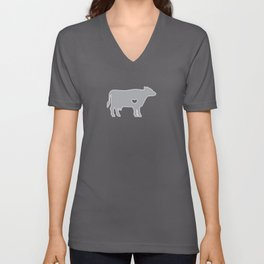 I Love Cows Cute Cattle Bovine Farmer Rancher Silver Unisex V-Neck