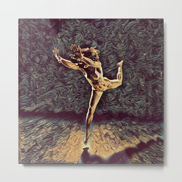 1315s-ZAC Dancer Leaping Air Time Beautiful Black Woman Antonio Bravo Style Metal Print