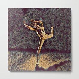 1315s-ZAC Dancer Leaping Air Time Beautiful Black Woman Antonio Bravo Style Metal Print