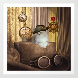 Steampunk, beautiful cat with steampunk hat Art Print