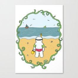 Beach trip yeti Canvas Print